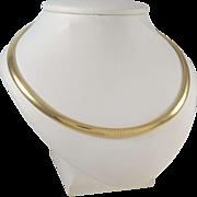 Beautiful 14 KARAT Yellow Gold Omega Domed Necklace