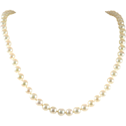 Exotic Signed Mikimoto 14k White Gold and 6.5mm White Pearl Necklace