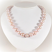 Exotic 11mm Pink Pearl Necklace with 14k White Gold Clasp