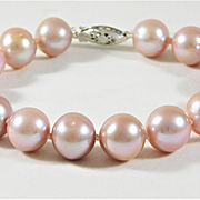 Lovely 11.5mm Pink Saltwater Pearl Bracelet with 14k White Gold Clasp
