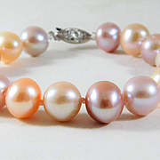 Lustrous Mixed Color 11.5mm Saltwater Pearl Bracelet with 14k White Gold Clasp