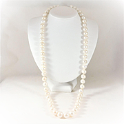 Stunning 13mm Opera-Length Saltwater Pearl Necklace with 14k White Gold Clasp