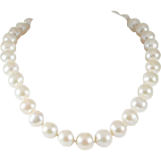 Elegant 12mm Saltwater Pearl Necklace with 14k White Gold Clasp