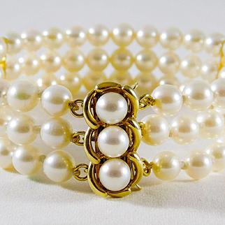 Vintage 14k Gold and Lustrous 3-Strand White Pearl Bracelet