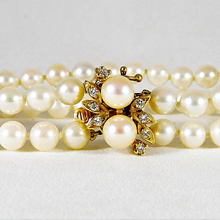 Vintage 14k Gold and Lustrous 2-Strand White Pearl Bracelet with Diamonds