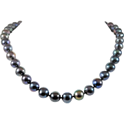 Mesmerizing Exotic Black Pearl Necklace With 14k White Gold Clasp