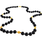 Exotic Black Onyx and 14k Gold Beaded Necklace