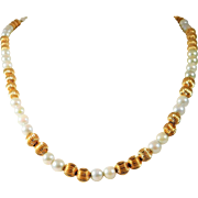Vintage 28 inch 14k Gold Bead and White Pearl Necklace