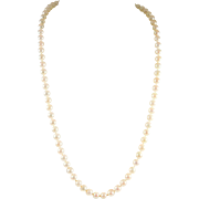 "Lustrous Extra Long ""Opera Length"" Pearl Necklace with 14k Gold Clasp"