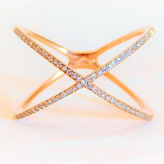 "10k Rose Gold Diamond ""X"" Ring"