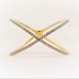 "10k Yellow Gold Diamond ""X"" Ring"
