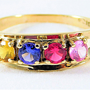 Vintage14kt Yellow Gold 4 Gemstone Ring