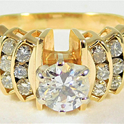 Sparkling Vintage 14k Gold and Diamond Engagement Ring with 1.30ct Total Carat Weight