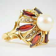 Intricate Vintage 18k Gold Ring with Marquise Cut Garnets and Saltwater Pearls