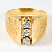 Gents Vintage 14k Gold and Diamond Ring Amazing Damascus Finish