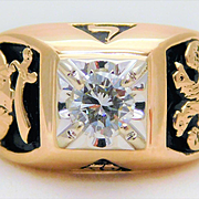 Vintage 14k Gold Gents Level 32 Masonic Diamond Ring