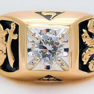 Vintage 14k Gold Gents Level 32 Masonic Diamond Ring