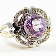 Vintage 10k White Gold Amethyst and Diamond Ring