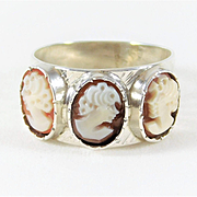 Antique 999 Silver Cameo Ring