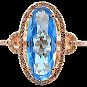 14k Rose Gold, Sky Blue Topaz, and Diamond Ring