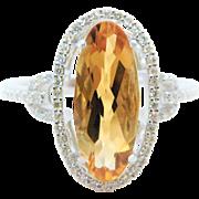 14k White Gold, Citrine, and Diamond Ring