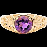 Vintage 14k Gold Round Brilliant Amethyst Ring