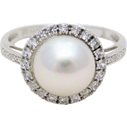 14k White Gold Akoya Pearl Ring with Diamond Halo
