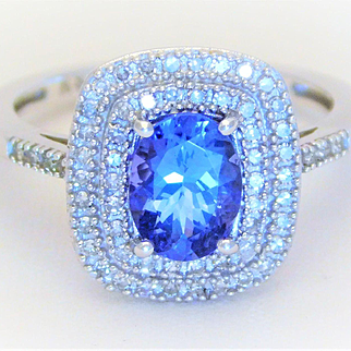 1.63ct Oval Tanzanite and Double Diamond Halo Cocktail Ring