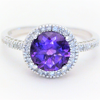 1.80ct Amethyst and Diamond White Gold Halo Ring