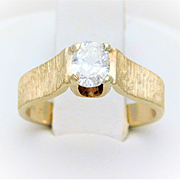 Vintage 14k Gold Solitaire Cushion-Cut Diamond Engagement Ring with a Florentine Finish