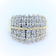 1.75ct Vintage 14k Gold Diamond Cluster Water Fall Ring