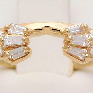 Vintage 14k Gold Diamond Ring Wrap Enhancer