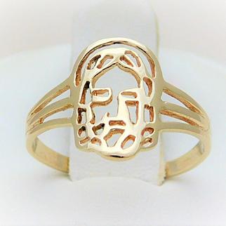 Vintage 10k Gold Jesus Ring