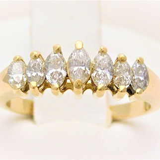 18k Gold Marquise Diamond Bridge Ring