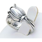 Signed Mignon Faget Sterling Silver Tulip Ring