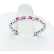 White Gold Natural Diamond and Ruby Stackable Band