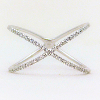 "10k White Gold Diamond ""X"" Ring"