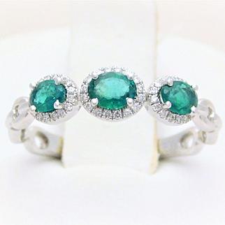 14k White Gold Three-Stone Emerald and Diamond Halo Ring