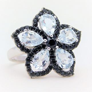 Aquamarine and Black Zircon Flower Ring