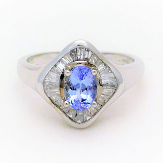 Mid Century 14kt White Gold Tanzanite and Diamond Baguette Cocktail Ring