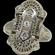Antique 18 karat White Gold and Diamond Ring