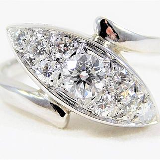 Vintage 14K White Gold Diamond Cocktail Ring