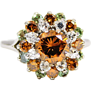 Ladies 14 Karat White Gold Orange Diamond Cocktail Ring
