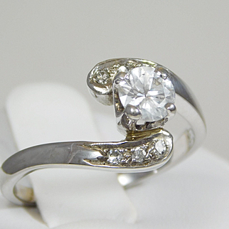 Diamond Engagement Ring with 14k White Gold and Diamond Band