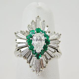 18 karat White Gold 5 Cttw Diamond & Emerald Ballerina Ring