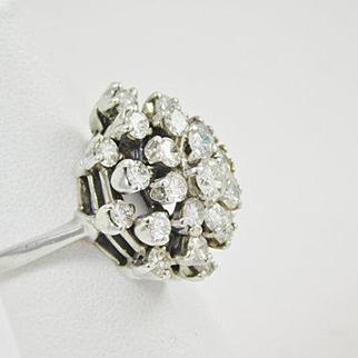 2 ½ Carat Diamond Cluster 14 karat white gold Ring