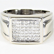 Gents Vintage14k White Gold Ring with Diamonds