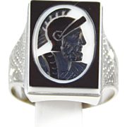 14K White Gold Ring with a Black Onyx Roman Soldier Cameo