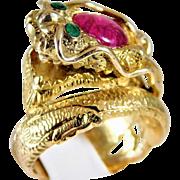 Ladies 14 Karat Yellow Gold Dragon Ruby & Emerald Ring