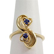 Ladies 14 karat Yellow Gold Sapphire Heart Ring